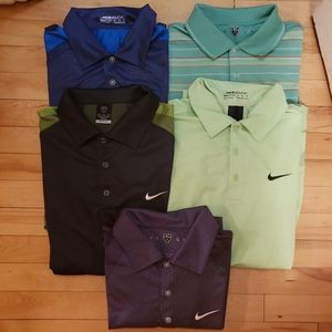 Lot of 5 Nike Golf Dri-Fit polos size medium